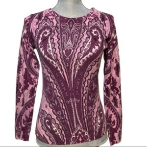 NWT 100% cashmere pink purple paisley sweater